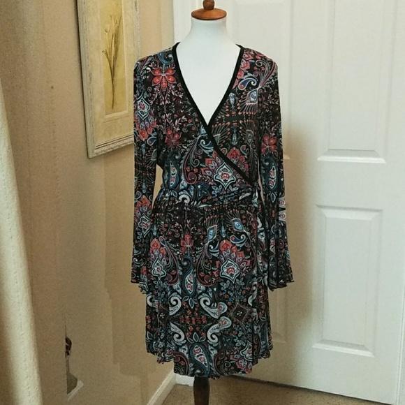 0602c05cd3 Xhilaration, 2X, multi color, faux wrap dress.